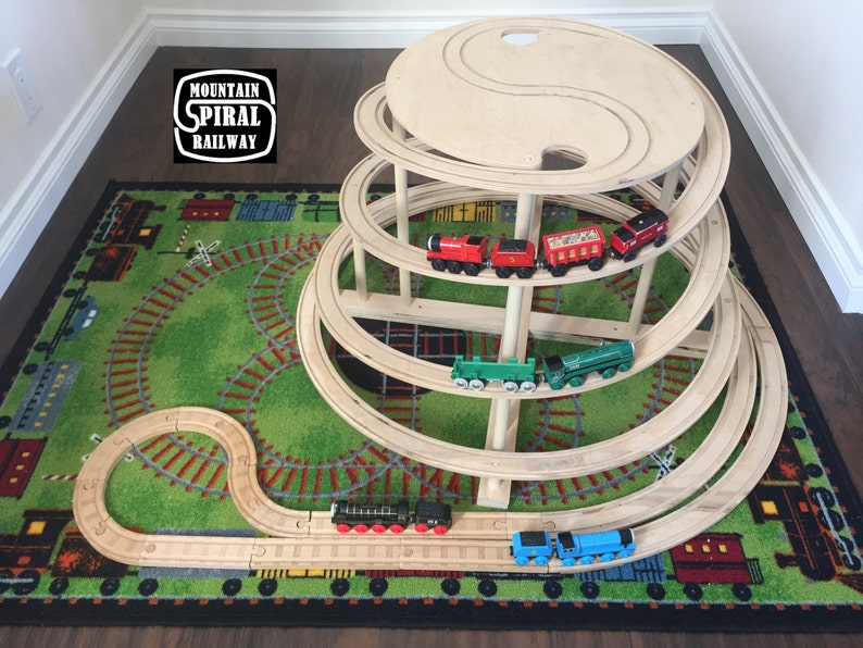 The Original Spiral By Mountain Spiral Railway The Ultimate Natural Wood Train Track Accessory Compatible With Thomas Brio And Ikea Sets