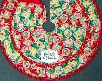 Hawaiian Christmas Tree Skirt Mele Kalikimaka