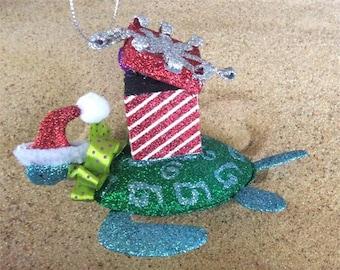 Glitter Ocean Santa Turtle Mele Kalikimaka Ornament