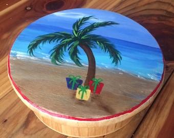 Beach Christmas Wood Trinket Jewelry Box Hand-Painted