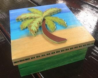 Beach Palm Tree Wooden Trinket Jewelry Box Hand-Painted