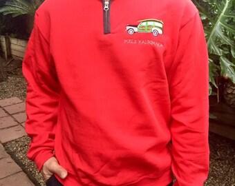 Men's Mele Kalikimaka Quarter Zip Red Sweatshirt