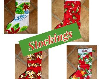 Hawaiian Print Christmas Stocking -- Personalized For Free