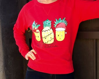 Crazy About Pineapples Red Mele Kalikimaka Christmas Sweatshirt