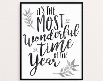 It's the most wonderful time of the year holiday christmas wall art gold silver