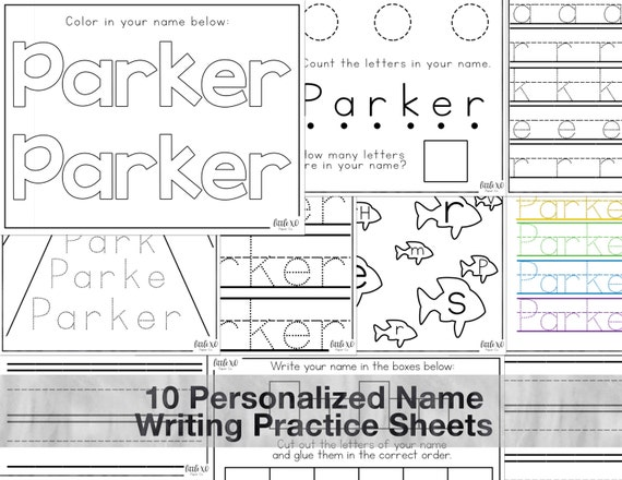 Personalized Practice Name Writing Sheets For Etsy