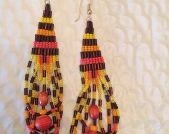 Vintage boho hippie handmade Navajo Native American long beaded earrings