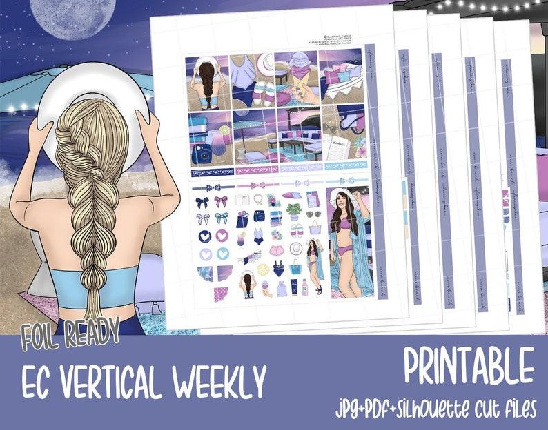 Moon beach / FOIL READY / EC vertical / Weekly kit /printable image 0