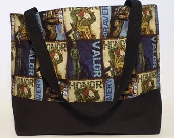Honor Our Soldiers Tote bag - grocery tote - market bag - Reusable, all purpose, washable tote bag, shopping bag, eco bag