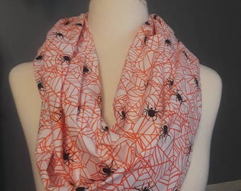 Orange Spider Infinity Scarf