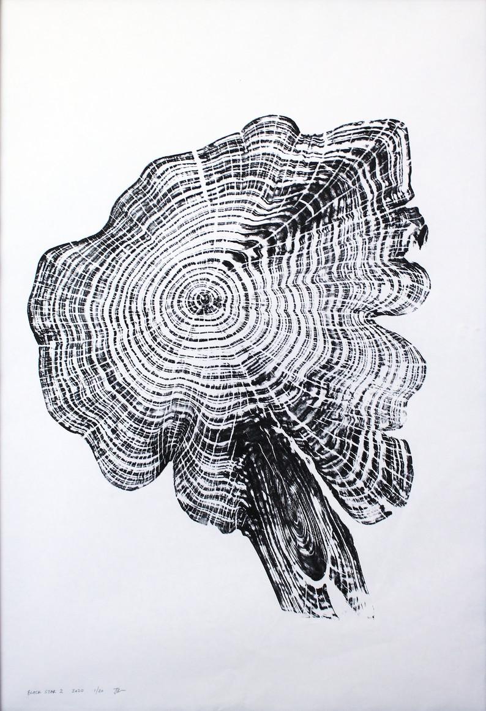 Handprinted Tree Ring Art Black Print Cedar Star 2