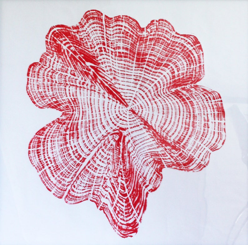 Handprinted Tree Ring Art in Red Cedar Star