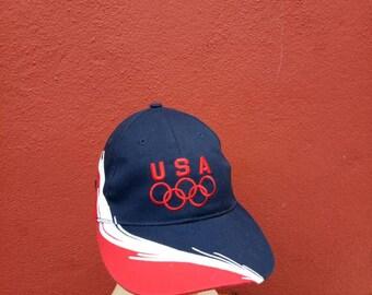 fbef9daf2d5 Rare Vintage USA Olympic hat Cap