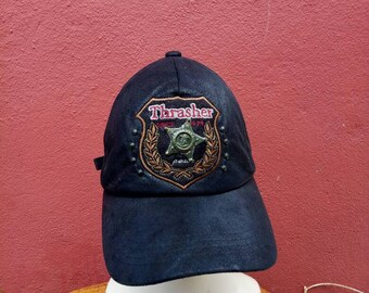 32e0b90453b Rare vintage Thrasher magazine leather hat cap