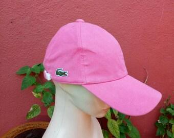 7ab274003b4ddd Rare Vintage Lacoste hat cap, pink color cap, woman styles,big logo cap,  summer styles, tennis cap, golf cap, baseball cap, jogging hat, swa
