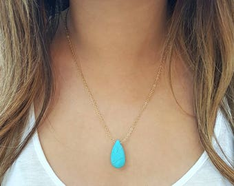 Turquoise Drop Necklace, December Birthstone, Turquoise Pendant, Blue Stone Necklace, Turquoise Jewelry, Gift For Her Under 25