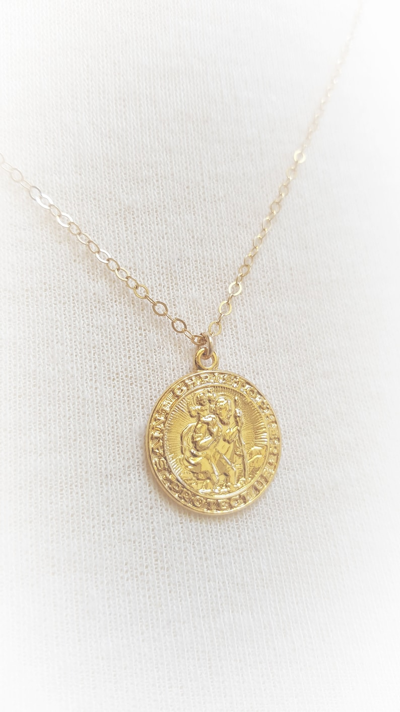 St Saint Christopher Protect Us Silver Gold Plated Necklace Pendant Chain BAG