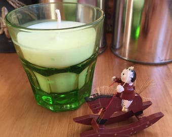 Green French drinking glass with soy candle