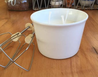 Crème brûlée form with soy candle