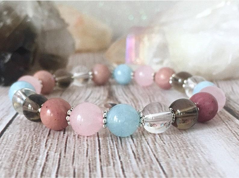 Breast cancer & emotional healing bracelet  Reiki infused  Rose quartz