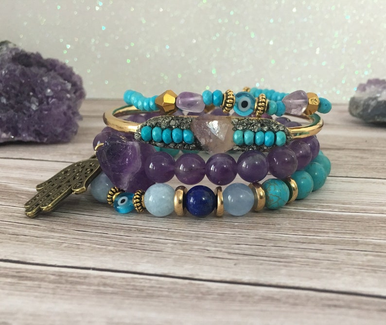 Protection Raw Stone Crystal Cuff Amethyst /& Turquoise Reiki infused Bangle.