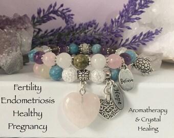 Fertility Endometriosis Hormonal Balance Healthy Pregnancy & Beyond Essential Oil Diffuser Bracelet reiki infused