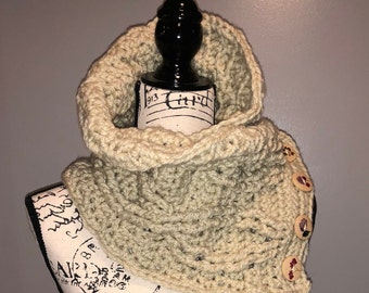 Twisted Button Up Cowl Scarf
