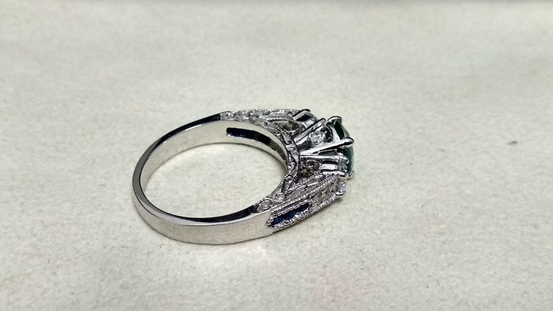 2.73 Ct Round Cut Off White Blue Moissanite Engagement Wedding Art Deco Ring 925 Sterling Silver