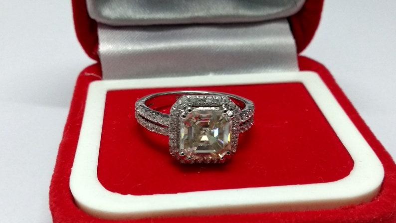 2.37 Ct Near White Asscher Cut Moissanite Engagement Wedding Ring 10K White Gold