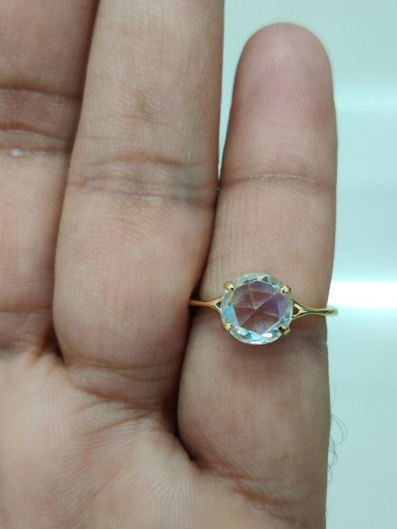 2.07 Ct Round Rose Cut Colorless Moissanite Engagement Wedding Ring 10K Yellow Gold