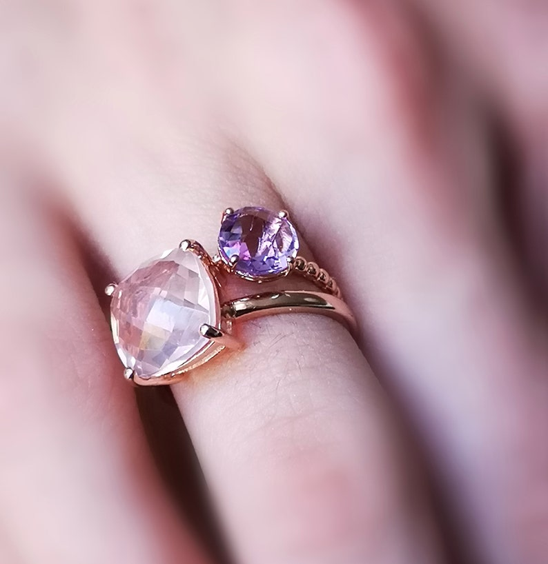 Pink gold silver ring and lavender amethyst