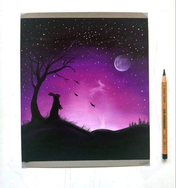 Night Sky Pastel Drawing Original Art Illustration Bunny Etsy