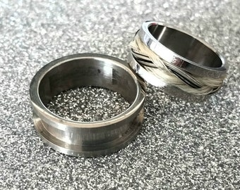Ring Blank Horse Hair Ring Blank Horse Hair Stainless Steel without Tunnel