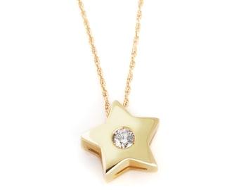 14k yellow gold diamond star pendant