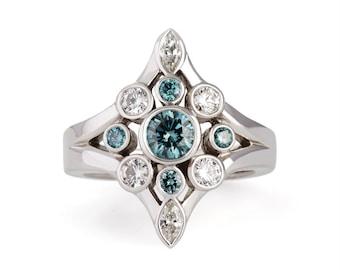 14k white gold blue diamond ring