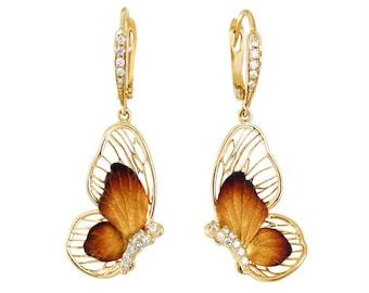 14k yellow gold diamond butterfly earrings