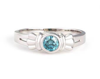 """18k white gold diamond """"bow"""" ring"""