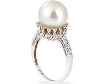 14k white gold diamond pearl ring