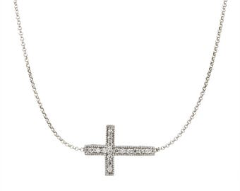 14k gold diamond cross necklace