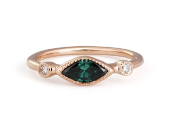 14k rose gold green diamond stackable ring