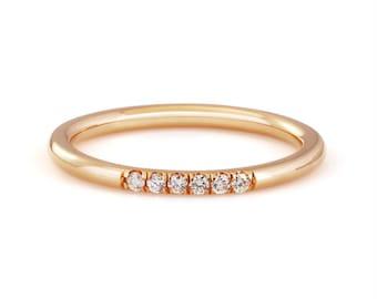 14k rose gold diamond stackable ring