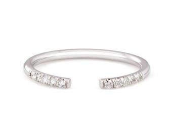 14k white gold diamond stackable open ring