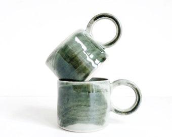 light green & mossy brushstroke coffee, espresso, cup, shiny, handmade, ceramic, stoneware, wheel thrown, glazed