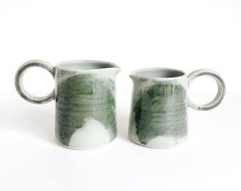 light green & mossy brushstrokes, milk jug, pourer, with handle, handmade, wheel thrown, ceramic, pottery, stoneware, glazed