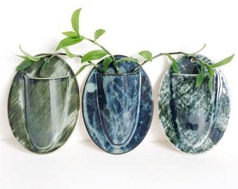 wall vase, wall planter, small, handmade, hand built, hand decorated, stoneware clay, glazed, ceramic, pottery