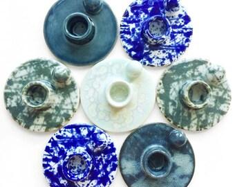 mini ceramic candle holder, with knob, handmade, hand built, pottery, stoneware, clay, glazed + short thin candle