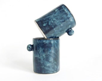 """espresso cup, """"milky way"""" colour , small with knob, handmade, hand built, hand decorated, slab built, ceramic, pottery, stoneware, glazed"""