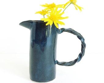 midnight blue vase, jug shape, medium, handmade, hand built, slab built, glazed, stoneware, ceramic, pottery
