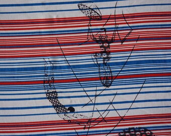 Vintage Americana Acrobat Fabric - Vintage Fabric Lot - Red White Blue Canvas Fabric