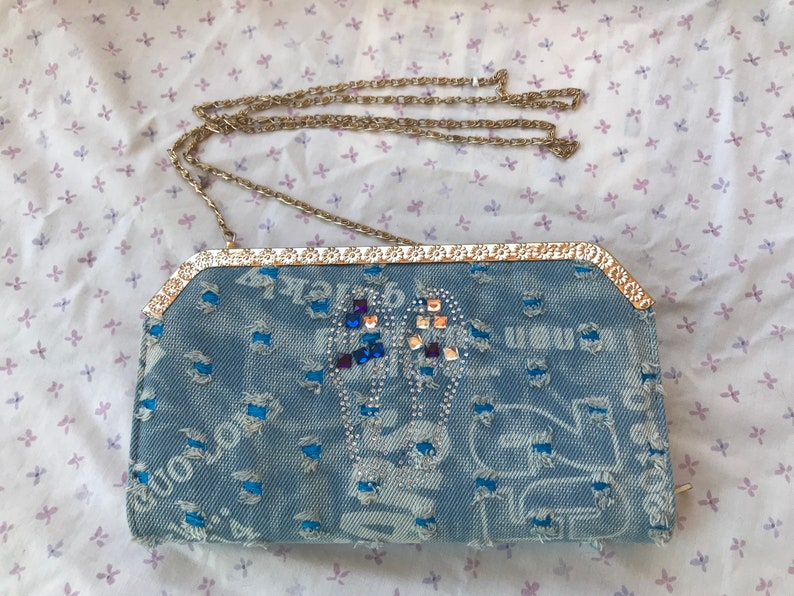 Vintage Blue and White Embellished Denim Convertible Clutch with Chain